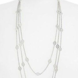 Tory Burch Necklace Silver Triple Strand New